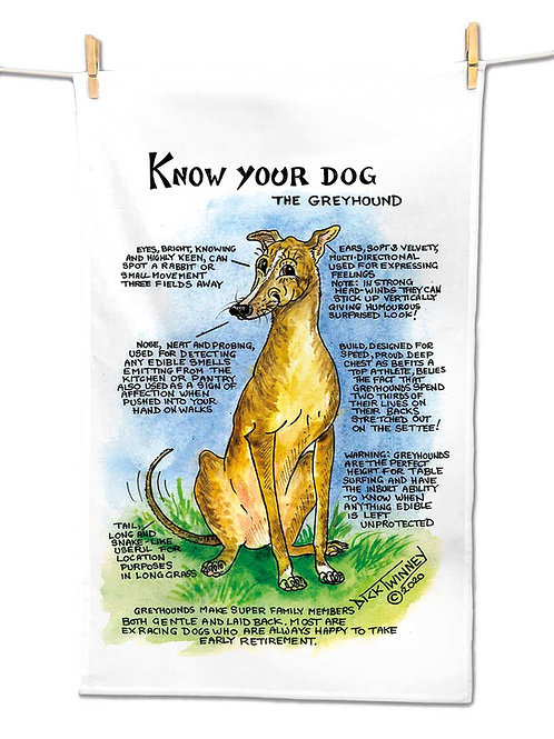 Greyhound - Tea Towel - Know Your Dog - Pack of 6