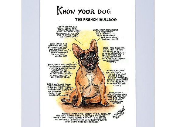 French Bull Terrier - A4 Mounted Print - Know Your Dog - Pack of 6