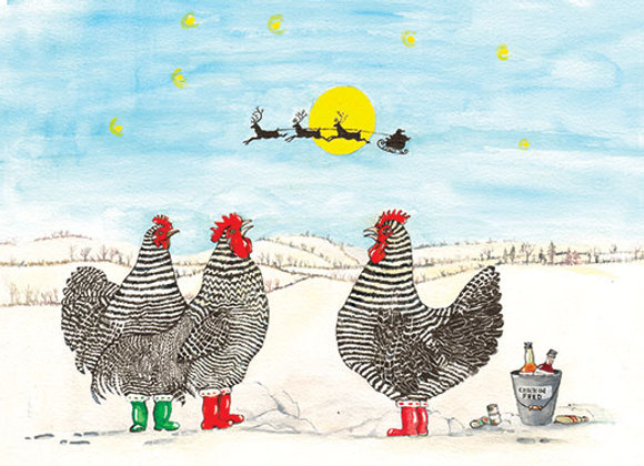 Chickens in Wellies - Wooden Christmas Card - Sue Podbery - Pack of 6