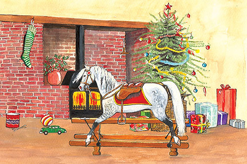 Rocking Horse - Wooden Christmas Card - Sue Podbery - Pack of 6