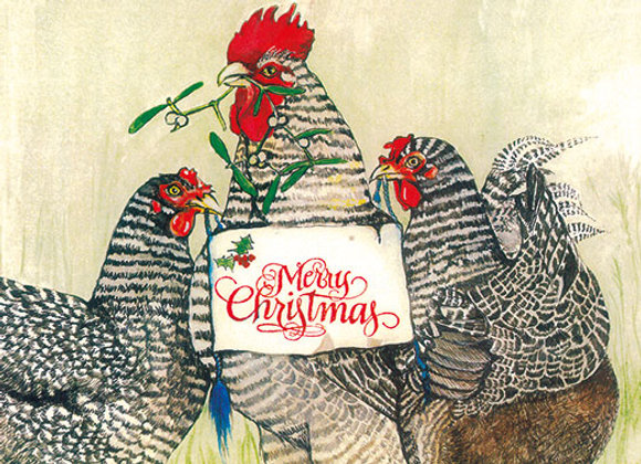 Maran Merry Christmas - Wooden Christmas Card - Sue Podbery - Pack of 6