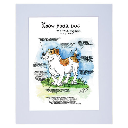 Jack Rusell  - A4 Mounted Print - Know Your Dog - Pack of 6
