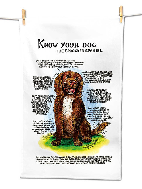 Sprocker Spaniel - Tea Towel - Know Your Dog - Pack of 6