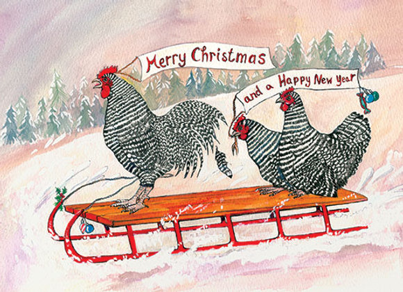 Chickens Sledging - Wooden Christmas Card - Sue Podbery - Pack of 6