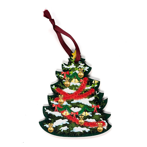 Christmas Tree Red - Wooden Tree Hanger - Pack of 12