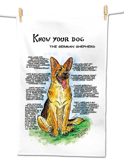 German Shepherd - Tea Towel - Know Your Dog - Pack of 6