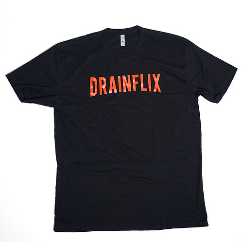 DRAINFLIX Classic Log Black Shirt Red Letters (Bred)