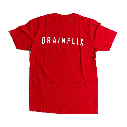 Drainflix Slim Logo Red T-Shirt White Letters