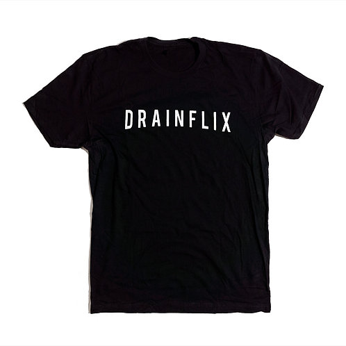 Drainflix Slim Logo Black T-Shirt White Letters