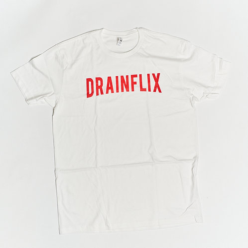 DRAINFLIX Classic Logo White T-Shirt Red Letters