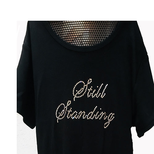 Made with Swarovski diamonds. Fitted T-shirt good material.