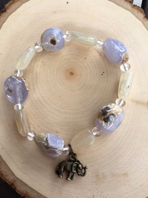 Blue Lace Agate Stretchy Braclet