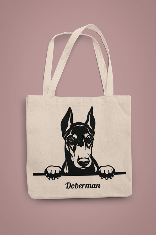 Doberman Looking Over Wall Tote