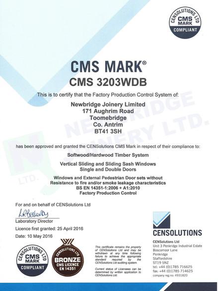 CMS 3203WDB Certificate - Newbridge Join