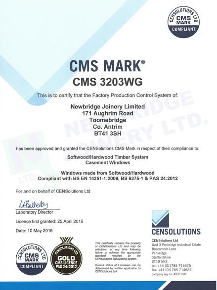 CMS 33203WG Certificate - Newbridge Join