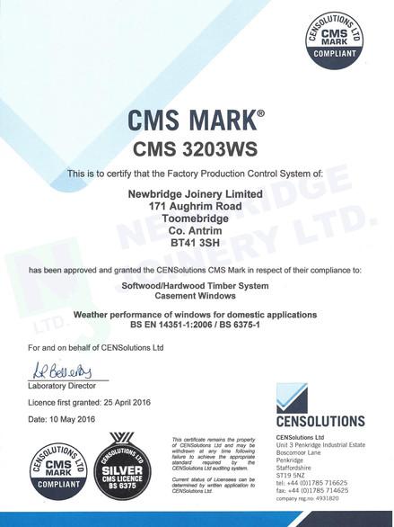 CMS 3203WS Certificate - Newbridge Joine