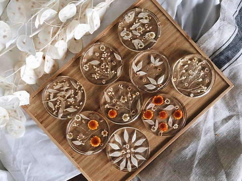 Dried Flower Resin Coaster
