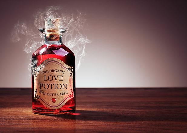 Love potion bottle, concept for dating,