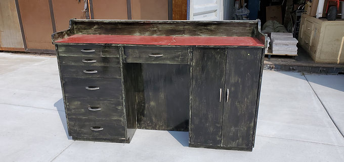 1940s Industrial Workbench with Drawers And Cabinet