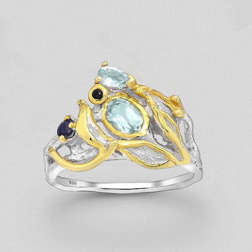 Blue Topaz and Sapphire Asymmetrical Ring