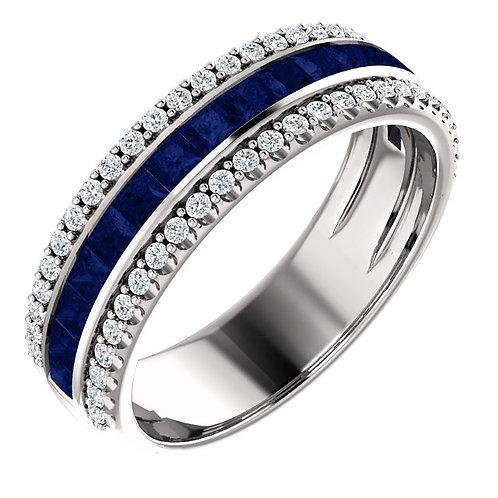 Three Row Princess Cut Sapphire Ring