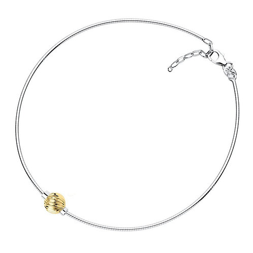 Textured Swirl Single 14k Yellow Gold Bead Anklet