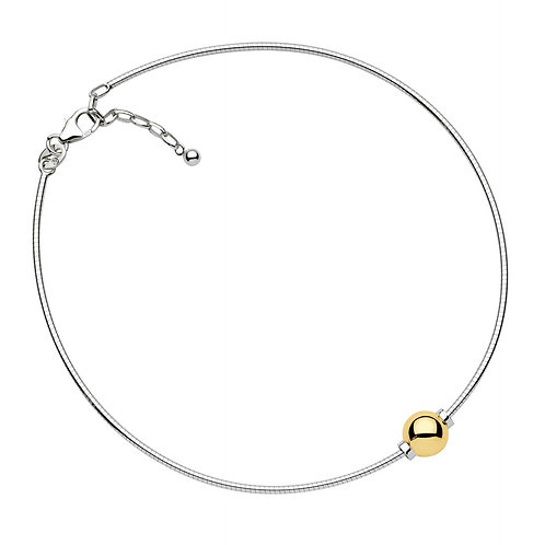 Anklet With Single 14k Yellow Gold Bead