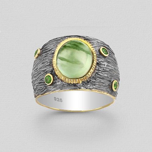 Organic Bark Pattern Gemstone Ring