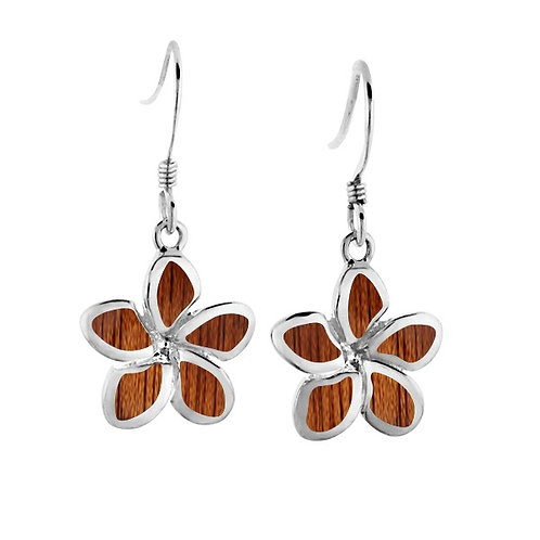 Koa Wood Plumeria Earrings