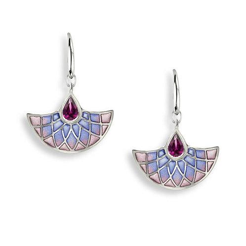 Purple Art Deco Fan Earrings