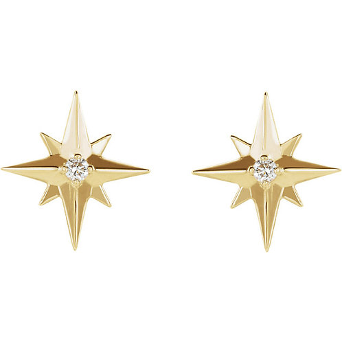 Diamond North Star Earrings