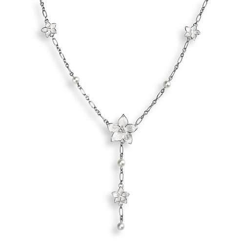 White Stephanotis Necklace With Pearls