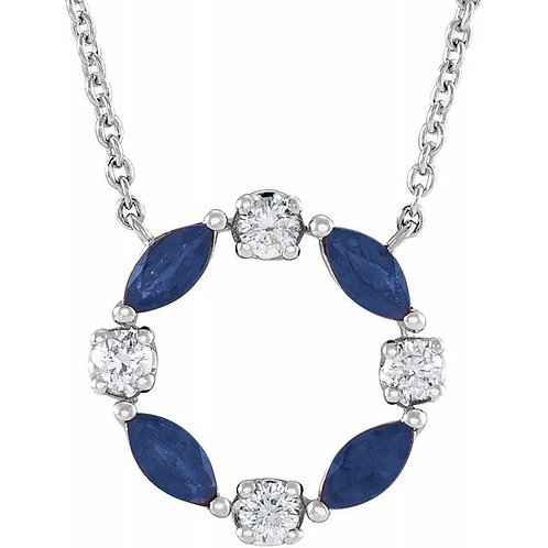 Sapphire and Diamond Circle Pendant