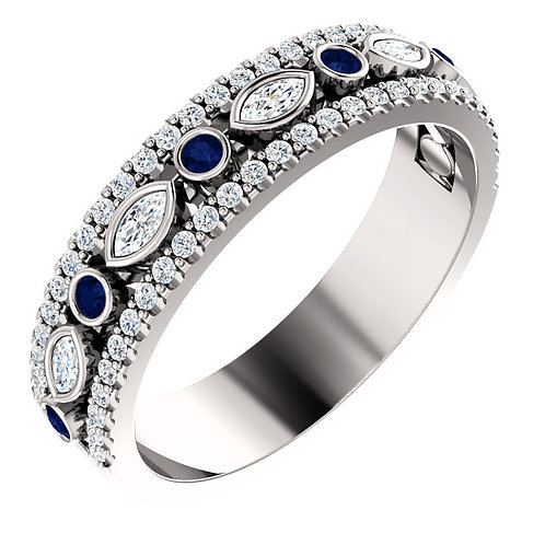 Sapphire and Diamond Three Row Band