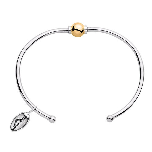 14k Yellow Gold Single Bead Open Cuff