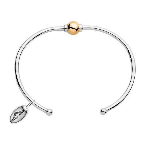 14k Yellow Gold Single Bead Open Cuff