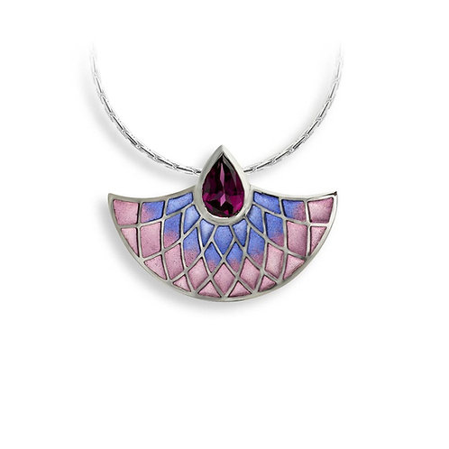 Art Deco Purple Fan Necklace