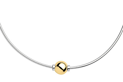 Single Bead  Necklace in 14k Yellow Gold