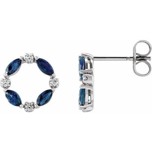 Sapphire and Diamond Circle Earrings