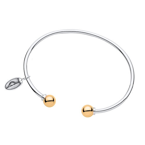 Double Bead Cuff With 14k Yellow Gold