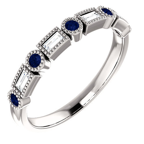 14K White Gold Sapphire and Baguette Diamond Band