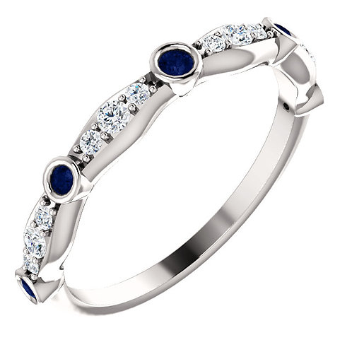 Sapphire and Diamond Accent Band