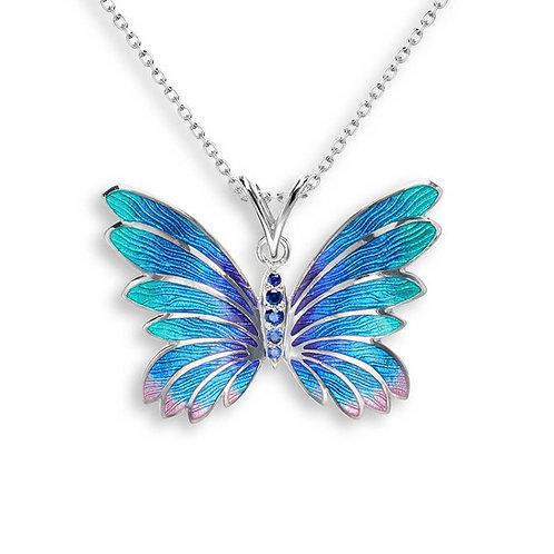 Blue Sapphire Butterfly Pendant