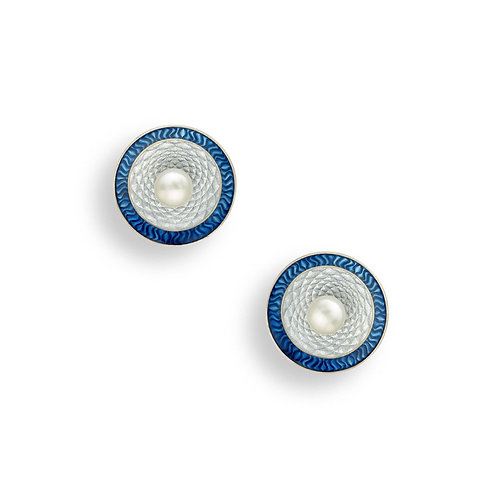Blue Studs with Freshwater Pearls
