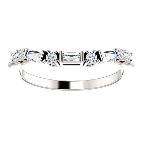 Round and Baguette Diamonds Contour Band