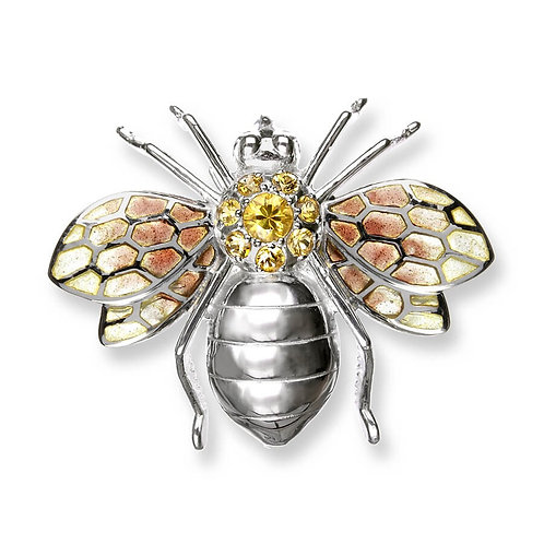 Plique-a-Jour Yellow Bee Brooch