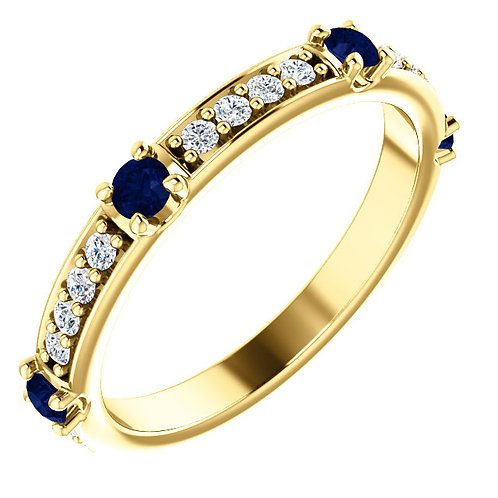 Sapphire Band With Diamond Accents