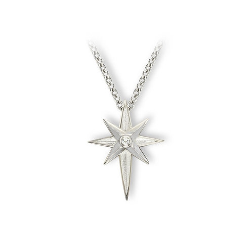 North Star and White Sapphire Pendant