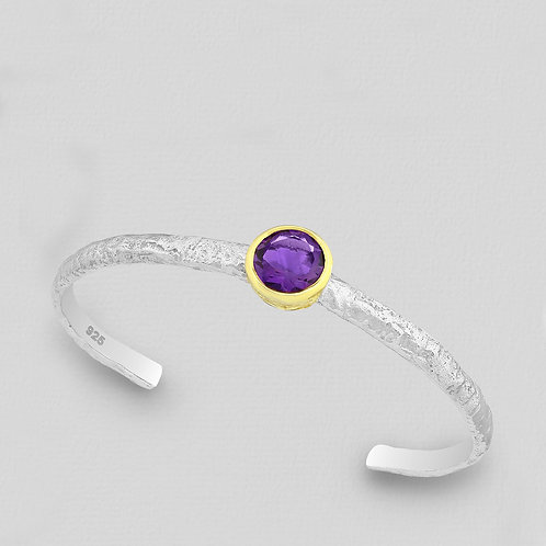 Bezel Set Amethyst Cuff Bracelet