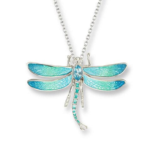 Blue Topaz Dragonfly Pendant